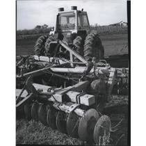 1977 Press Photo A tractor is used at a Hutterite settlement  - spa67157