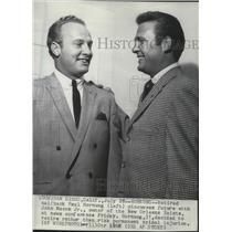 1967 Press Photo Retired football star, Paul Hornung with  John Mecom Jr.,