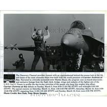 1995 Press Photo Scenes from Carrier: Fortress at Sea, on The Discovery Channel.