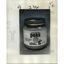 1977 Press Photo Baby Food Jar of Creamed Peas - noa23036