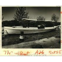 """1980 Press Photo New Audubon Park """"Swan Boat"""" Awaits Repairs - noa23188"""
