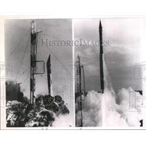 1967 Press Photo Vanguard Test Rocket bursts into flamed after ignition