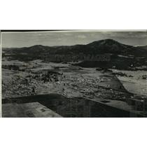 1930 Press Photo Aerial view of city of Chewalah and mountains, Washington