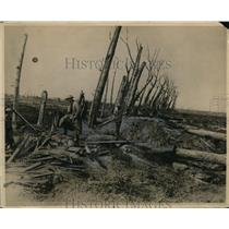 1918 Press Photo Flanders Battlefield After Subjected to 6 Hours of Barrage Fire