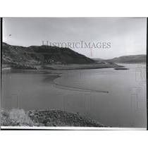 1974 Press Photo Island in Lake Roosevelt Reappeared After Removal of Cofferdam