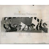 1937 Press Photo Soviet Leaders Wave to Marching Moscow, Russia Communists