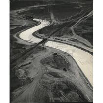 1951 Press Photo Aerial view of West Canal of Irrigation project, Columbia Basin