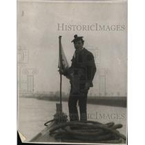 1923 Press Photo French Navy sailor at watch on Rhine to keep coal from Germany