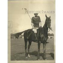 1924 Press Photo Colonel Melvill at British Polo team Practice at Meadowbrook