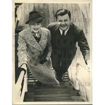 1934 Press Photo Mr. & Mrs. Joseph Mankiewicz aboard S.S. Santa Elena in NY