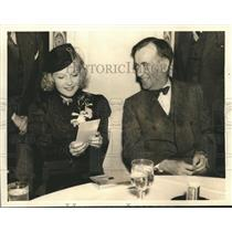 1935 Press Photo Edgar Guest, Martha Eggerth at Party at Beverly Wilshire Hotel