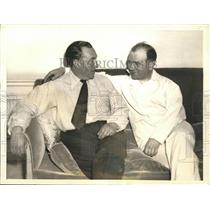 1934 Press Photo French Pilots Maurice Rossi and Paul Codos at Waldorf Astoria