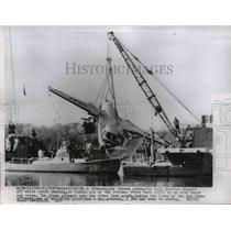 1956 Press Photo Twin-Engine Laison Plane Tail Section Snapped Off During Crash
