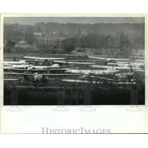 1982 Press Photo small planes sit idle at Capitol Drive Airport in Brookfield