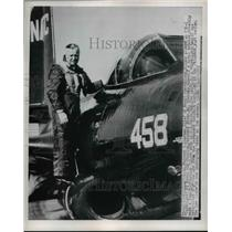 1950 Press Photo Adm Forrest Sherman Boards F3D-1 at Washington Naval Station