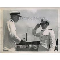 1945 Press Photo Cuban Commodore Jose Aguila Ruiz Receives Commander Rank