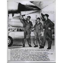 1958 Press Photo UPI Staff Reporter James Webster Inspects B-47 Plane