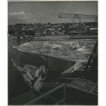 1948 Press Photo Sawmill at Holmsund on River with Logs awaiting Construction