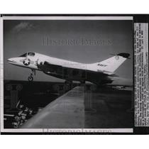 1953 Press Photo Navy's newest jet interceptor Skyray leaves USS Coral Sea deck