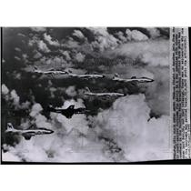 1955 Press Photo Banshee jets from the air craft carrier Yorktown fly patrol