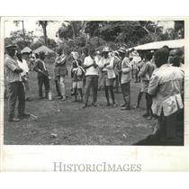 1962 Press Photo Visitors to a backcountry village in Ethiopa wait for a plane