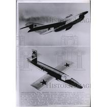 1955 Press Photo Artist concepts of new Russian fighter planes to be developed.