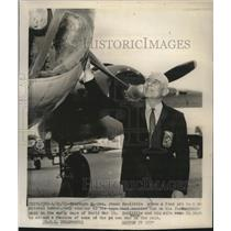 1965 Press Photo General James Doolittle with Mitchel Bomber Plane in Fairborn