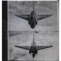 1955 Press Photo Before-and-after pictures show changes in all-jet interceptor