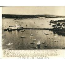 1940 Press Photo Boats and the Royal Yacht Club Restaurant at Oslo Fjord Norway