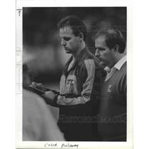 1990 Press Photo Seattle Seahawks quarterback Kelly Stouffer and Walt Loeffler