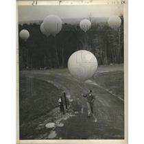 1949 Press Photo Helium-Filled Balloons readied for Flight as High as 19 Miles
