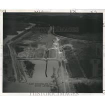 1951 Press Photo Aerial View of Bayou Sorrel Lock Showing Construction Details
