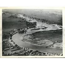 1940 Press Photo Aerial View of Flat Land Surrounding IJssel River In Holland