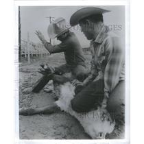 1969 Press Photo Calf Roping Cowtown New Jersey- RSA17719