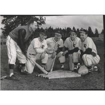 1956 Press Photo Lewis & Clark High School GSL baseball team with Coach Schoeing