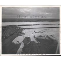 1950 Press Photo Aerial View of Opening Bonnet Carre Spillway, Mississippi River