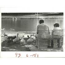 1984 Press Photo Ralph Diamond & Son Enjoy the Ducks at Hermann Park, Houston