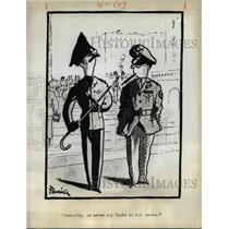 1944 Press Photo Cartoon of British Officer Discussing the Word Pants