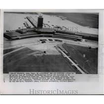 1958 Press Photo Aerial view of the Columbus' multi-million dollar air terminal