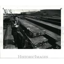 1986 Press Photo USW District Director Frank J Valenta w/ imported steels
