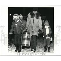 1984 Press Photo Refrigerated ruins at winter Funland in Strongsville