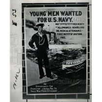 1977 Press Photo Young Man Wanted Poster Military Art - RRY74563
