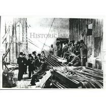 1878 Press Photo Officers, workmen of Brooklyn Corporation on Brooklyn Bridge NY
