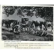 1983 Press Photo Cowboys Around A Chuckwagon At Meal Time - hcx04843