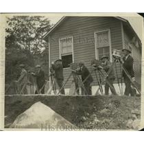 1930 Press Photo Cameramen at Dynamiting of Birdsboro, Pennsylvania Quarry