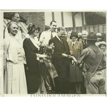 1931 Press Photo Boy Scout presents President Hoover with Indianapolis Medal