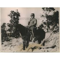 1921 Press Photo Marshal Foch, the world's great soldier on his burro mount