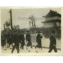 1928 Press Photo Tokyo school boys carry sacred portraits to their school