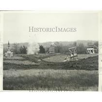 "1930 Press Photo ""Cardboard City"" Bombed 1500 Square Feet to Open Defense Plant"