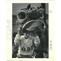 1992 Press Photo Vietnamese Children Performing Dragon Dance for New Year's